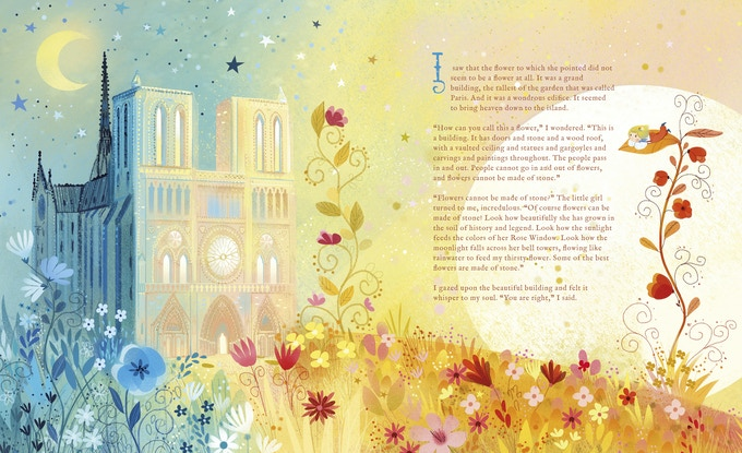 The little girl admires the most beautiful flower in her garden: Notre Dame de Paris.