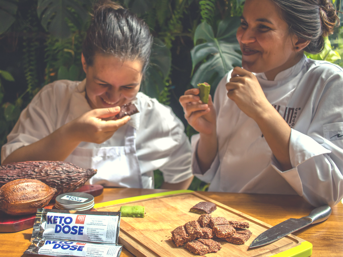 This is definitely a photoshoot. But doesn't mean we can't have some laughs. Yenifer and Tatiana, the leads behind our handmade bars - they bring the goodness in these bars. Made with laughs and love.