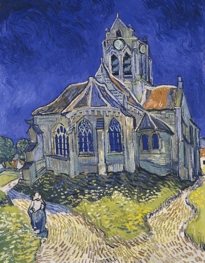 "Vincent Van Gogh's painting ""Church at Auvers Sur Oise"" which appears on a French stamp in 1979"