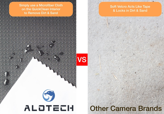 Make sure dirt never scratches your lenses with the Alotech QuickClean interior