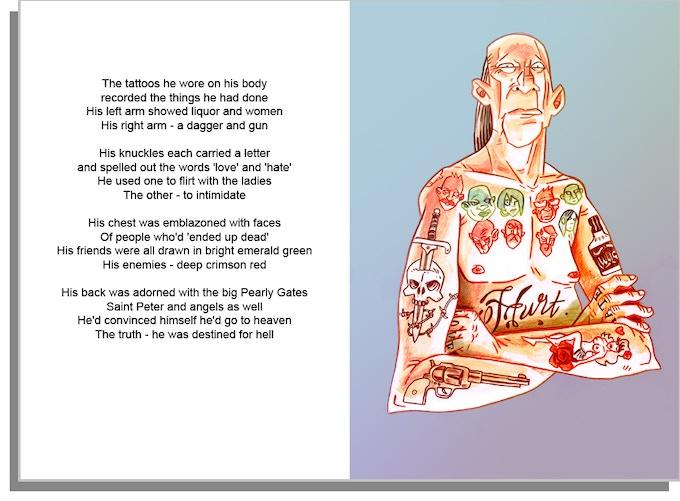 Tattoo Man - art and poem by Dean Beattie