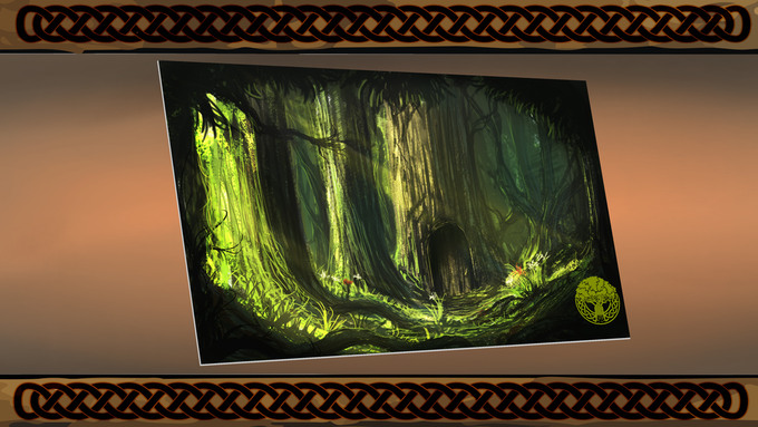 The Hidden Grove playmat.       Dimensions: 24in x 14in x 2mm