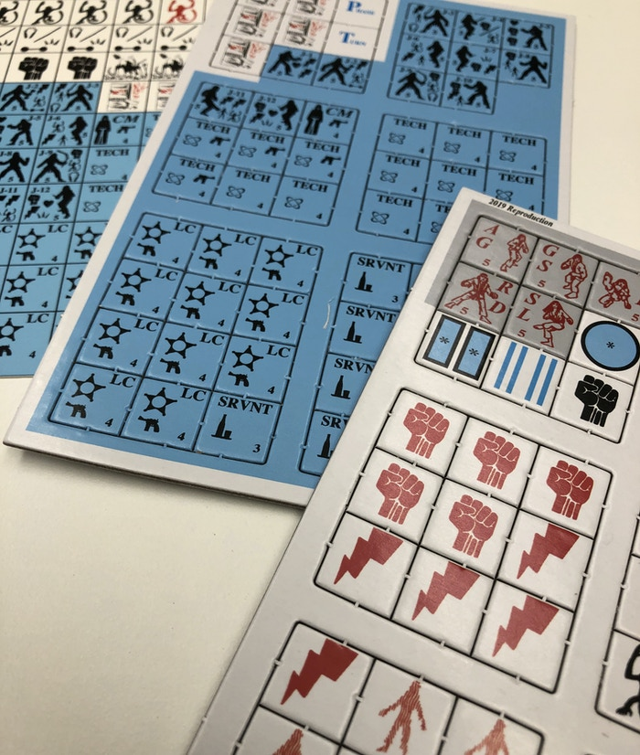 Kung Fu 2100 counters, both classic and the new die-cut sheets.