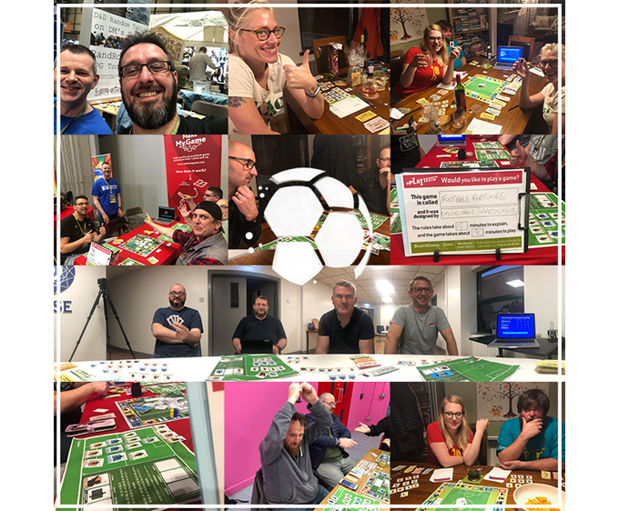 Some of our amazing playtesters playing the various prototype versions of the new Football Fortunes game as we worked on the rules, balance and more