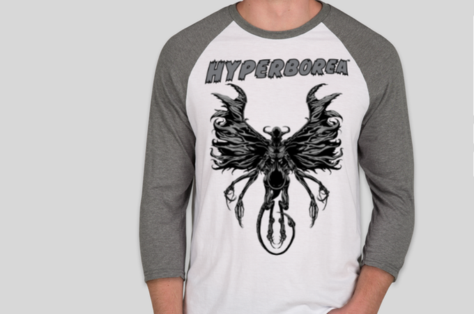 HYPERBOREA baseball raglan shirt featuring David Hoskins art