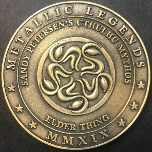 Back of Elder Thing coin - plated in antique gold