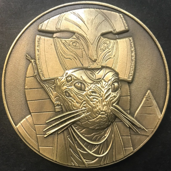 Front of Bubastis coin - plated in antique gold