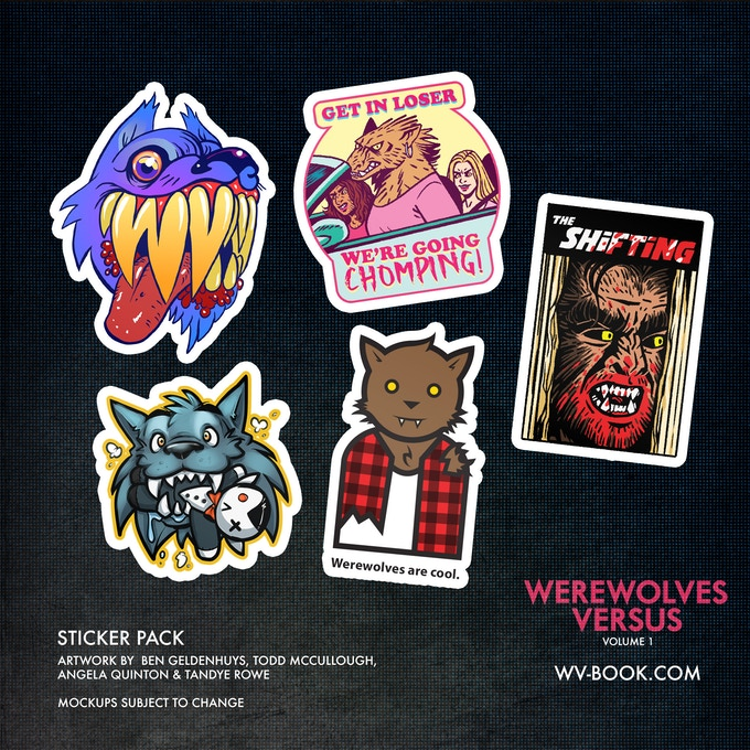 A pack of five werewolf-themed stickers by BenGeldenhuys, Todd McCullough,  Angela Quinton & Tandye Rowe