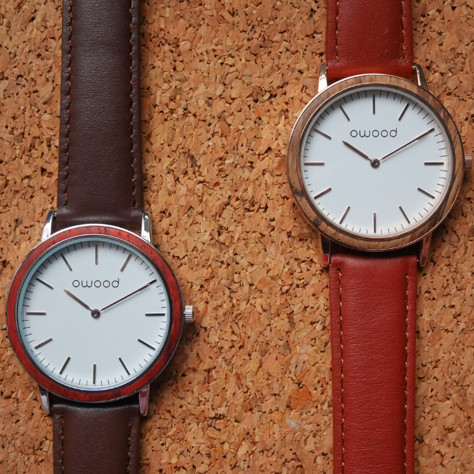 The minimalist, 40mm, Stainless Steel & Red Sandalwood  / Rose gold & Zebrawood