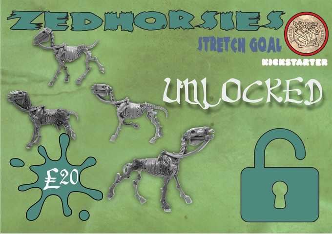 Random mix of multipart white metal horses, four total. Add to your Pledge for £20