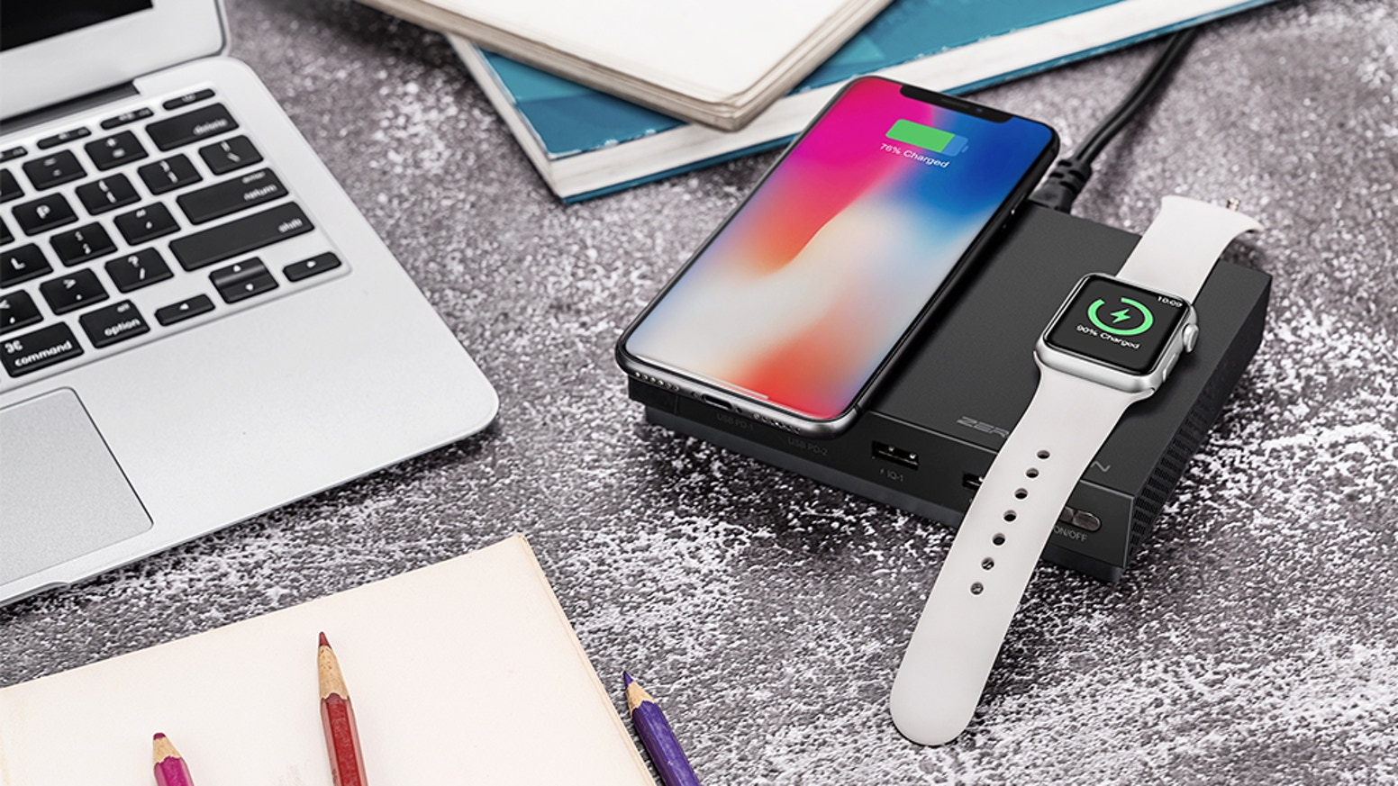 USB-C PD 107W + USB-A 15W + Qi Wireless Charger 10W + Apple Watch Magnetic Charger 3W Total 135W. Fast Charge for all your gadgets.