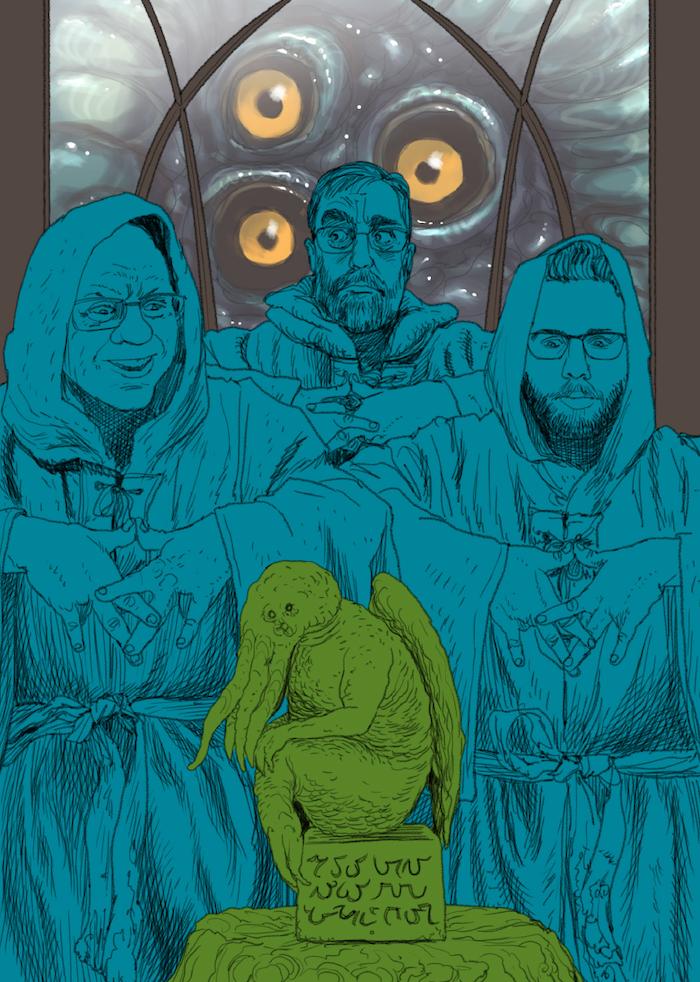 Willing Sacrifices to Cthulhu—a rough sketch by Kurt Komoda