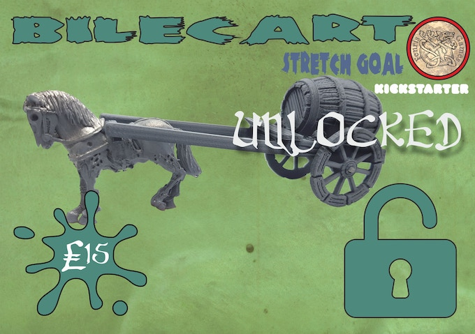 White metal zombie draft horse, 3D printed plastic model cart. Add one bilecart set to your Pledge for £15.