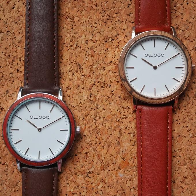 La Minimaliste, 40mm, Acier Inoxydable et santal rouge / Or Rose et zebrano