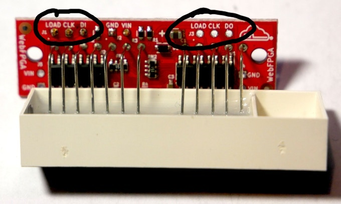 Seven-Segment Display with Circled Chainable IO Pins