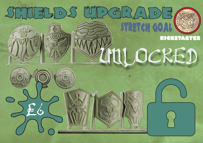 Set of nine resin shields, assorted designs and shapes. Add to your Pledge for £6