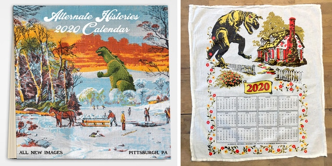The calendar (left) measures 12 x 12 inches; the towel (right) measures 16 x 20 inches