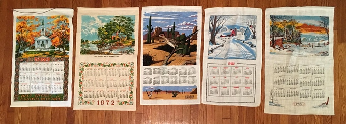 A sampling of some of the 12 vintage towels I used to make the calendar.
