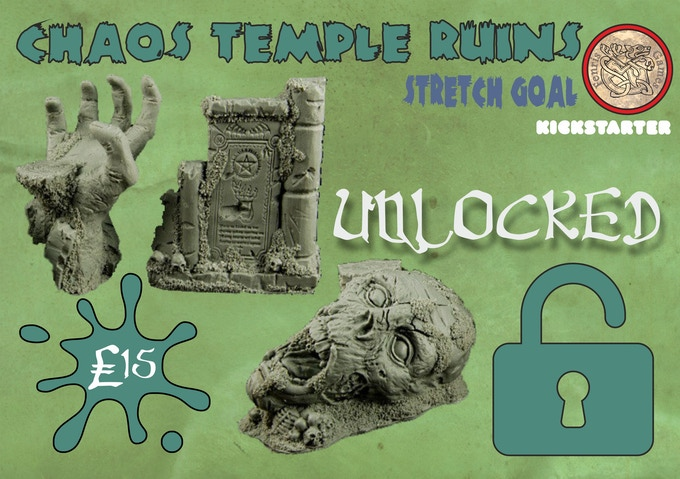Three chunky resin scenery pieces. Add to your Pledge for £15