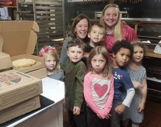 we taught these little ones to make pie and they all made one to take home