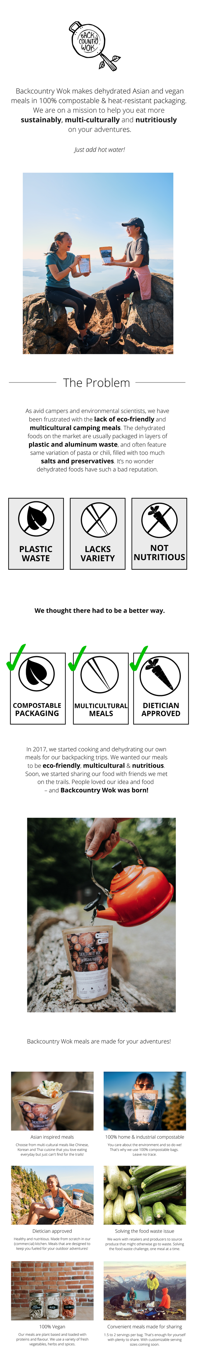 Dehydrated Asian and vegan meals in 100% compostable bags by