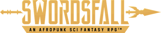 Swordsfall. An Afropunk Sci-Fantasy RPG. Logo Design by Taylor Ruddle