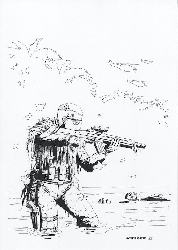Original A3 cover art for the Tank #5 - Director's Cut Edition