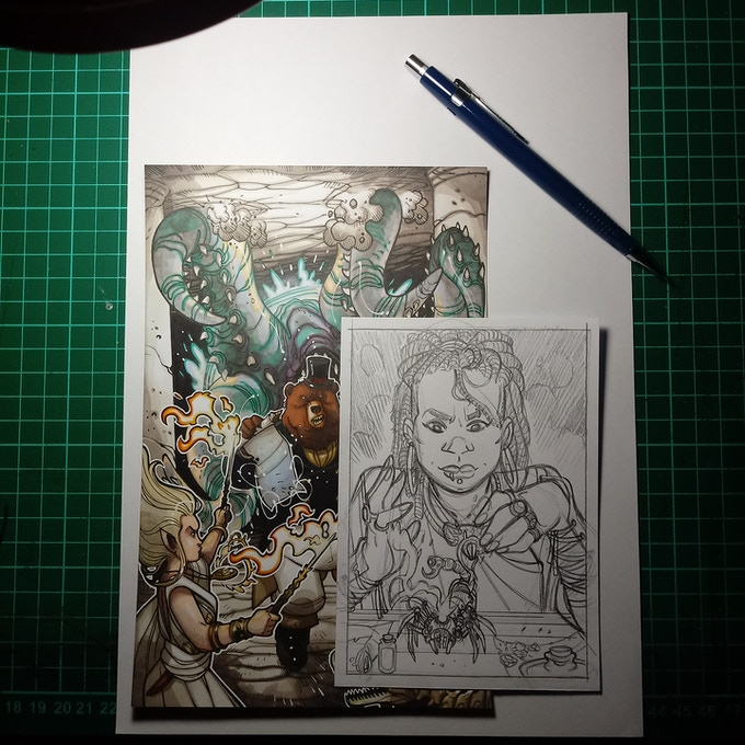Finished cover art and Artificer pencil sketch by Nicolas Giacondino