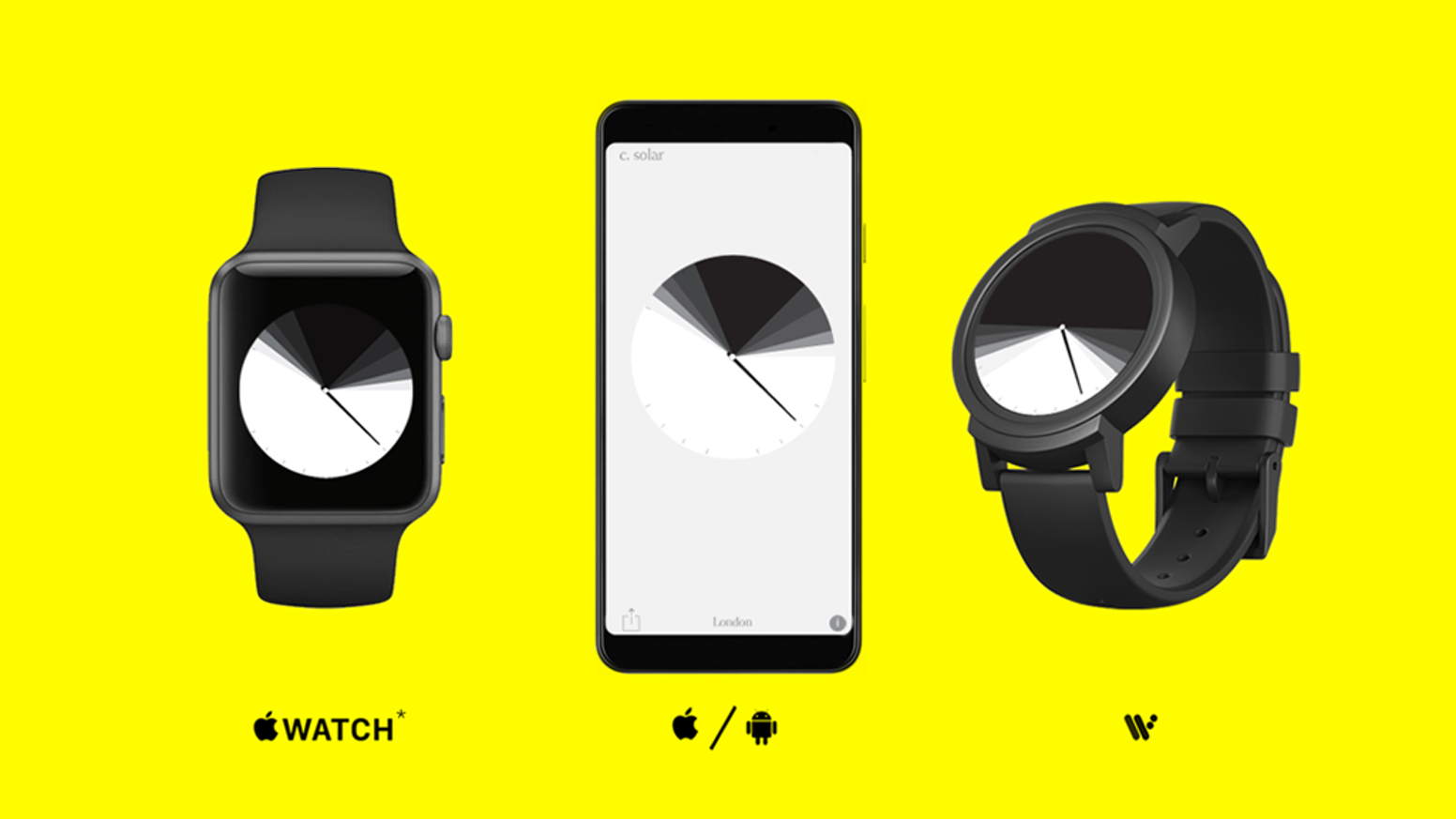 A radical new cross-platform time-telling app designed for smartwatch and phone.