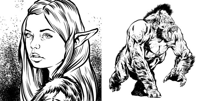 Fey Enchantress, Dire Gorilla illustrations by Rick Hershey