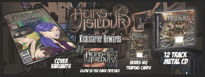Some examples of the many rewards and items available with this campaign - variant covers, glow in the dark patches, series #2 of our trading cards, our METAL CD, and MORE!