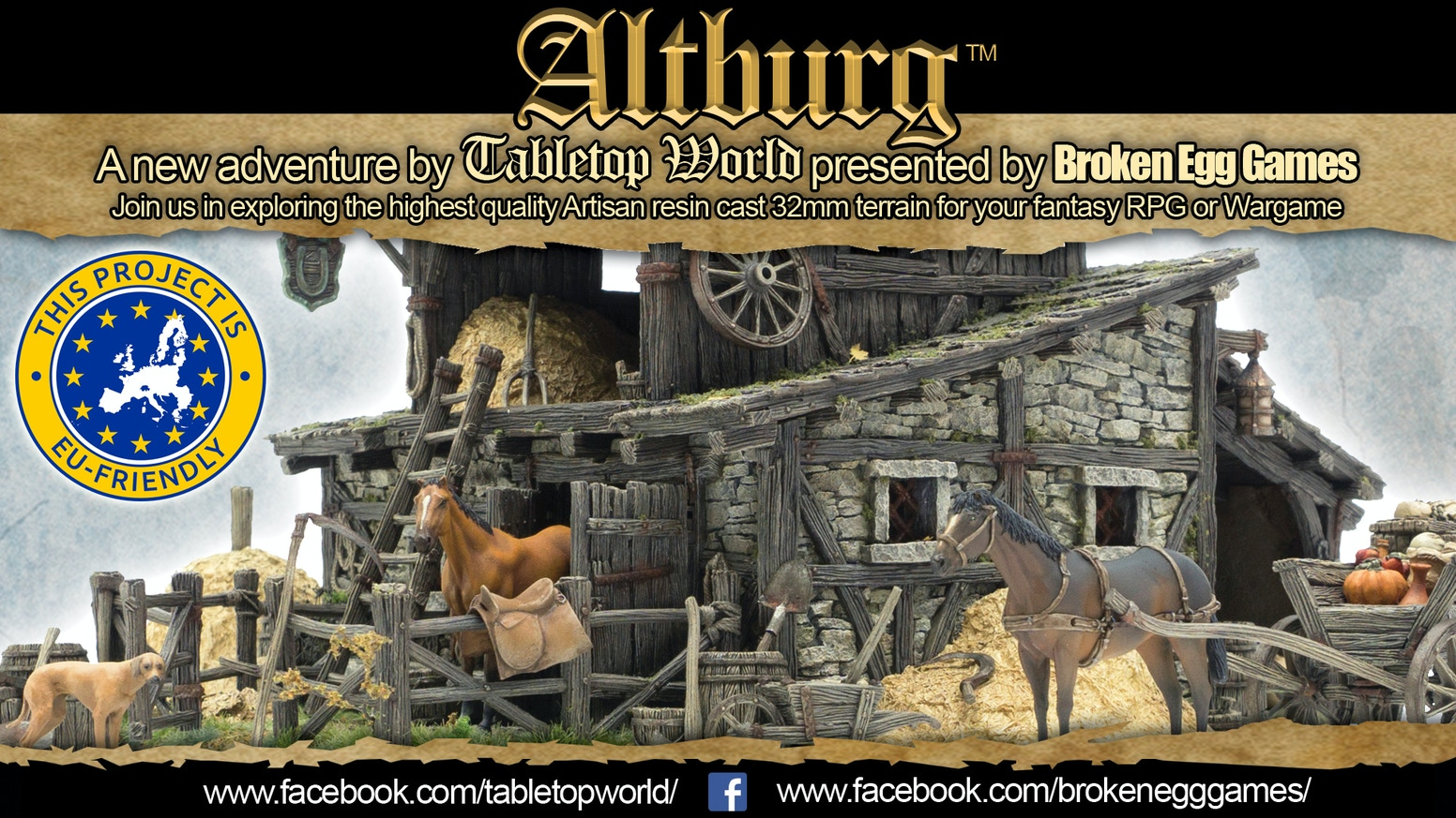 Tabletop World's Altburg Stable 32mm resin cast terrain by