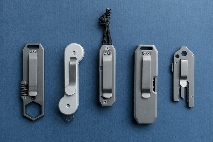 Visual size comparisons (Left to right) : Ti EDC Wrench, KeyBar®, Ti EDS, Bit Bar, TPT Slide