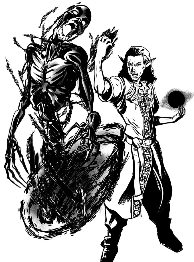 Malchior the Necromancer, illustration for Rule of Three by Reed Hill
