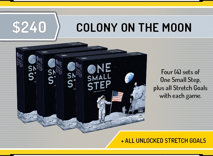 Four (4) copies of 'One Small Step', plus four (4) sets of 'All unlocked Exclusive Stretch Goals'.