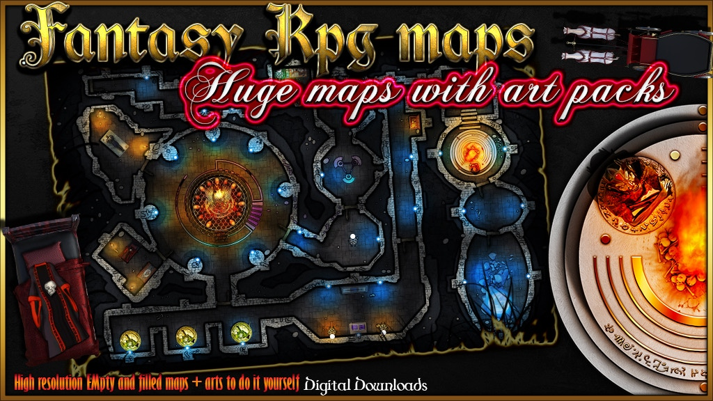 4 RPG Fantasy maps and 4 Art Packs. project video thumbnail