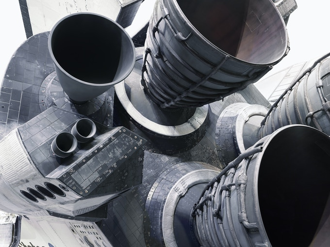 "Space Shuttler Atlantis RS25 engines. From the forthcoming book ""NASA - Past and present dreams of the future"" by © Benedict Redgrove"