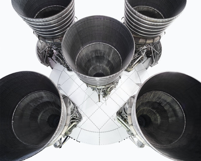 "Five F1 engines of the Saturn V rocket. From the forthcoming book ""NASA - Past and present dreams of the future"" by © Benedict Redgrove"