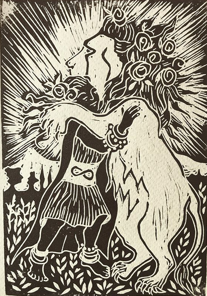 Strength. Linocut Print. A Major Arcana card in Nell's Commonplace Tarot Deck