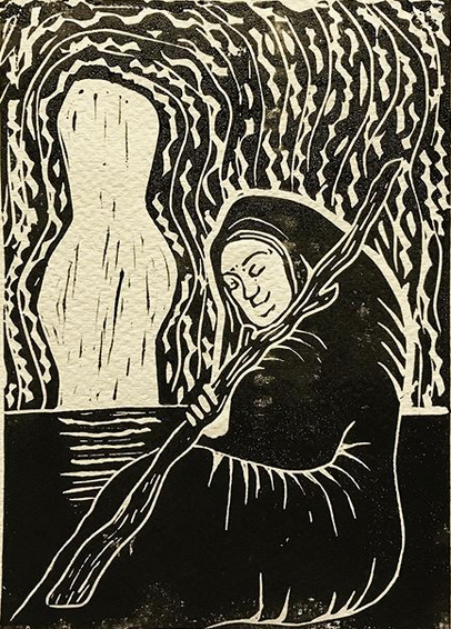 The Hermit. Linocut print design by Nell Latimer.