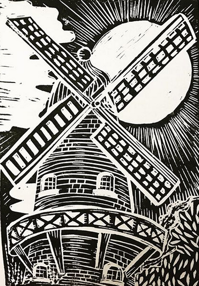 The Mill (Wheel of Fortune) Original Linocut design by Nell Latimer.