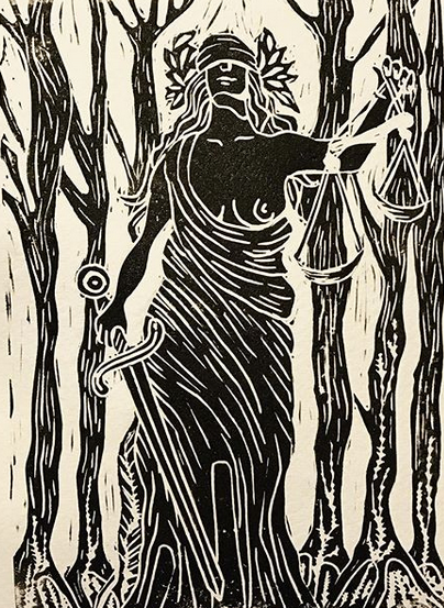 Justice. Original Linocut design by Nell Latimer.