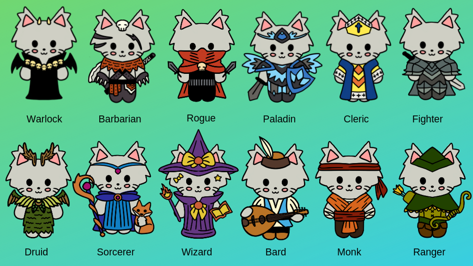 """1"""" soft enamel pins for popular RPG character classes, in cat form!"""