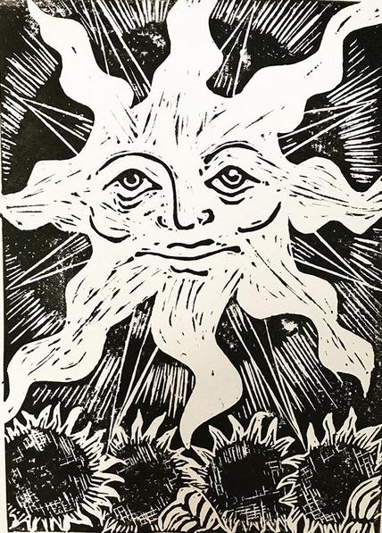 The Sun. Linocut design by Nell Latimer
