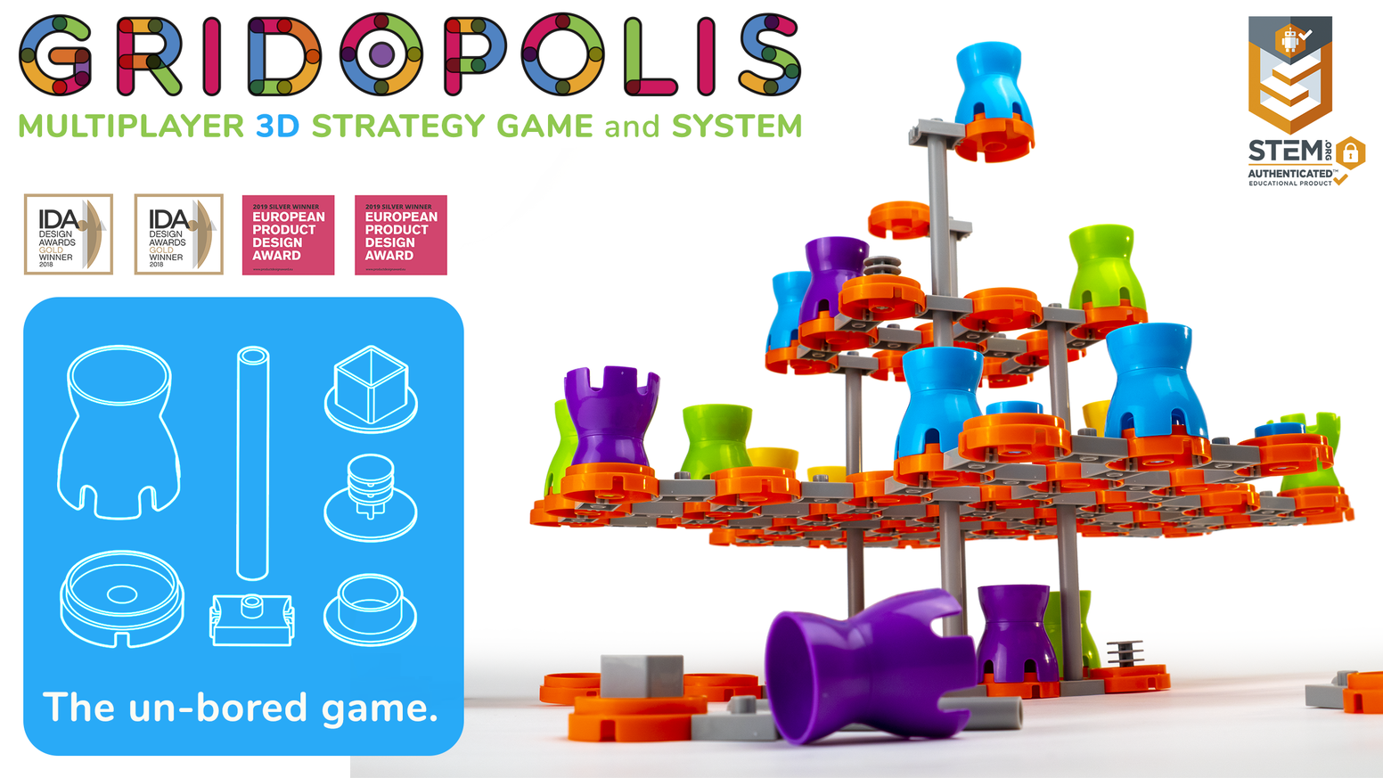 Gridopolis is a multiplayer 3D strategy game and system. It's an innovation in gaming designed for geeks, families & educators alike.