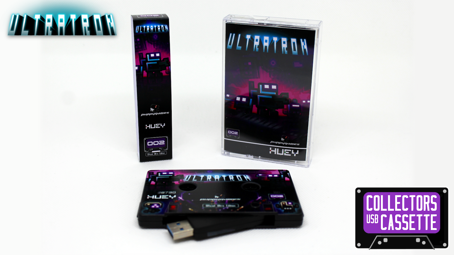 Exclusive collectors USB cassette featuring Ultratron (DRM free) and bonus extras. Missed the Kickstarter? Click below to get your cassette!