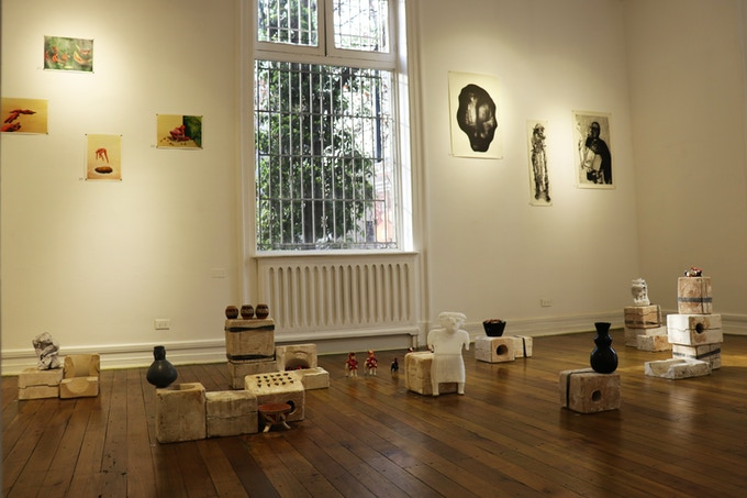 Neo Norte 1.0 - Fundación Cultural de Providencia, Santiago, Chile - August / September 2018 - Shamanism Room - Curator: Tere Chad - Paintings: Paula Turmina - Etchings: Pierre-Antoine Martin - Moulds: Javier Neira - 3d Printed Sculptures: Juan Covelli
