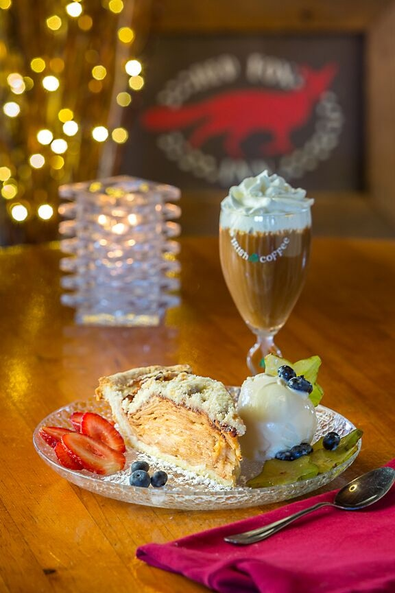 Our most popular dessert combo VT Apple Pie with local VT ice cream and Irish Coffee