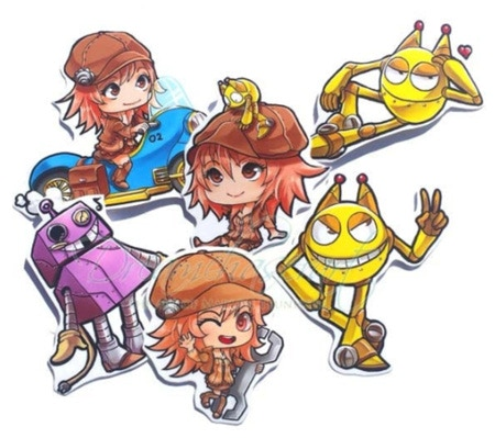 A sticker set of 6 featuring characters from the comic