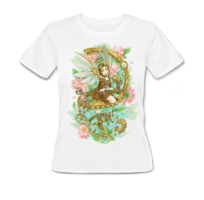 "The Tshirt featuring my ""Steampunk Angel"" Illustration"